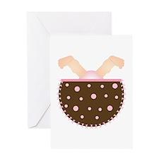 Upside Down Baby (pink/brown) Greeting Card