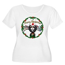Xmas Cat (BW) Music (W) T-Shirt