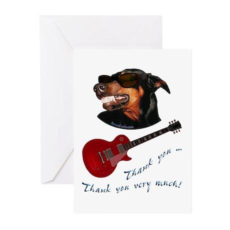 Guitar Doberman Greeting Cards (Pk of 10)