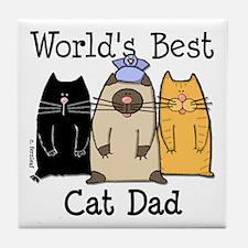 World's Best Cat Dad Tile Coaster