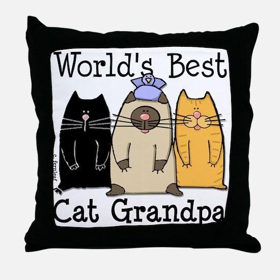 World's Best Cat Grandpa Throw Pillow