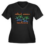 Island Oasis Women's Plus Size V-Neck Dark T-Shirt