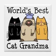 World's Best Cat Grandma Tile Coaster