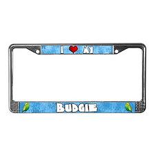 Love Green Budgie License Plate Frame (Cartoon)