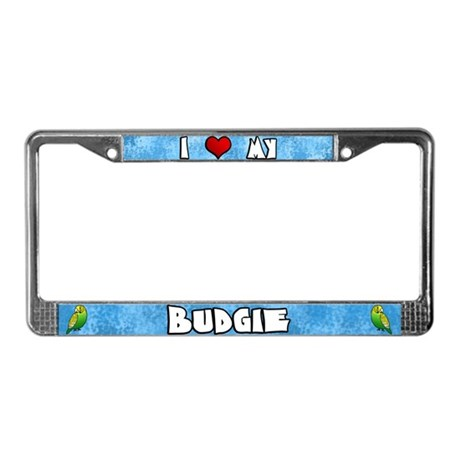 Love Green Budgie License Plate Frame (Cartoon)