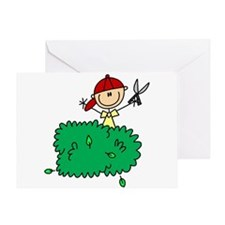 Stick Figure Trims Hedge Greeting Card