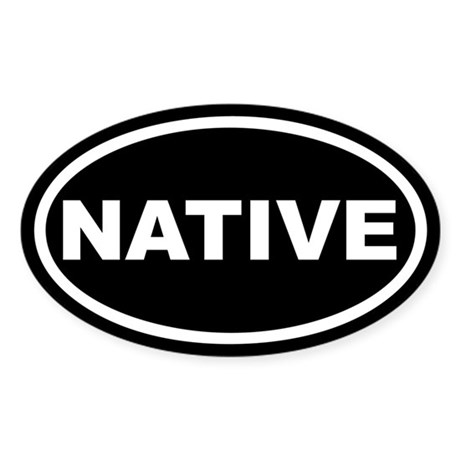 NATIVE Black Euro Oval Sticker
