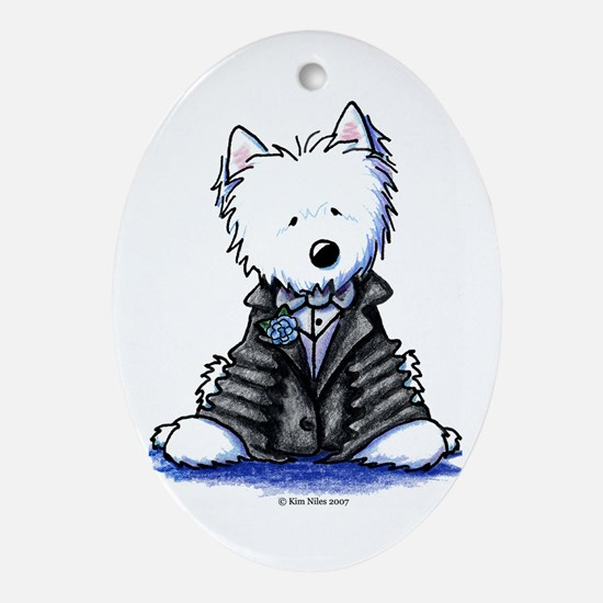 Westie Bride & Groom Oval Ornament