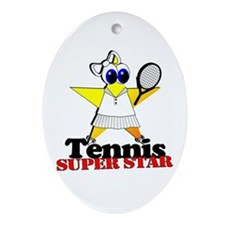 Tennis Star Oval Ornament