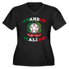 Anaheim Italian Women's Plus Size V-Neck Dark T-Sh