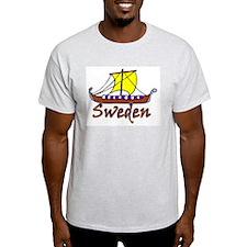 Viking Boat -1- Sweden Ash Grey T-Shirt