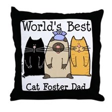 World's Best Cat Foster Dad Throw Pillow