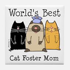 World's Best Cat Foster Mom Tile Coaster