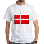 Danish / Denmark Flag White T-Shirt
