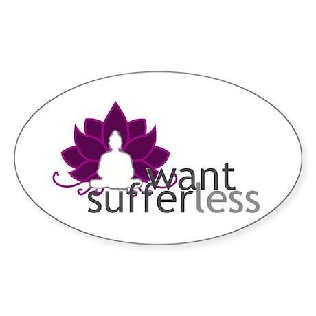 Want Less Suffer Less - Buddha & Lotus Sticker (Ov