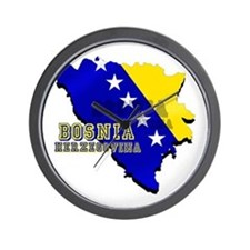 Flag Map of Bosnia Wall Clock
