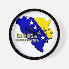 Flag Map of Bosnia Wall Clock