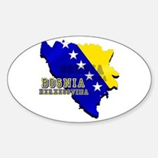 Flag Map of Bosnia Oval Decal