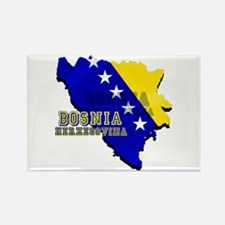 Flag Map of Bosnia Rectangle Magnet