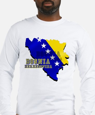 Flag Map of Bosnia Long Sleeve T-Shirt