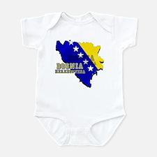 Flag Map of Bosnia Infant Bodysuit