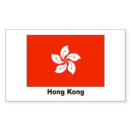 Hong Kong Flag Rectangle Sticker