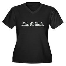 Little Bit Moxie Women's Plus Size V-Neck Dark T-S