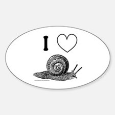 I HEART SNAILS Oval Decal