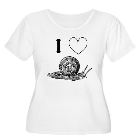 I HEART SNAILS Women's Plus Size Scoop Neck T-Shir