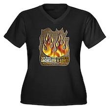 Repent ~ Women's Plus Size V-Neck Dark T-Shirt
