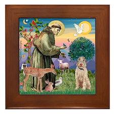 Saint Francis /Spinone(w) Framed Tile