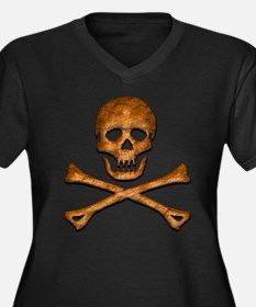 Jolly Roger 5 Women's Plus Size V-Neck Dark T-Shir