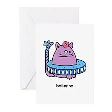 Ballerina Kat - Girlish Ballet Cat Greeting Cards