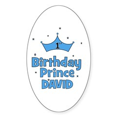 1st Birthday Prince David! Oval Decal