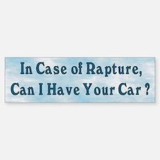 In Case of Rapture Bumper Bumper Bumper Sticker