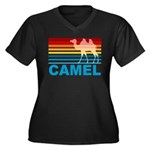 Colorful Camel Women's Plus Size V-Neck Dark T-Shi