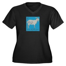 Year of the Goat Women's Plus Size V-Neck Dark T-S