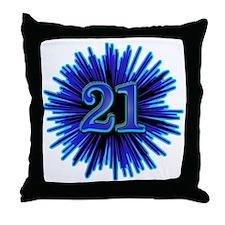 21st Blue Spray Throw Pillow