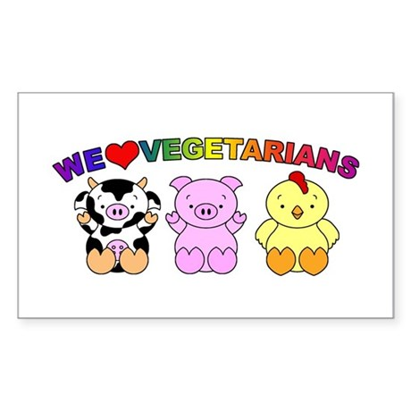 We Love Vegetarians Sticker (Rectangle)