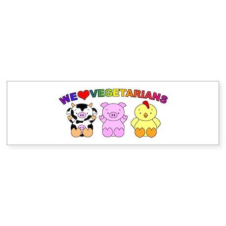 We Love Vegetarians Sticker (Bumper)