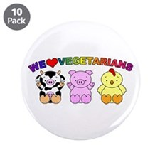 "We Love Vegetarians 3.5"" Button (10 pack)"