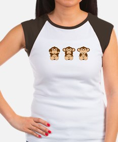 Monkey Hear, See, Speak No Evil Women's Cap Sleeve