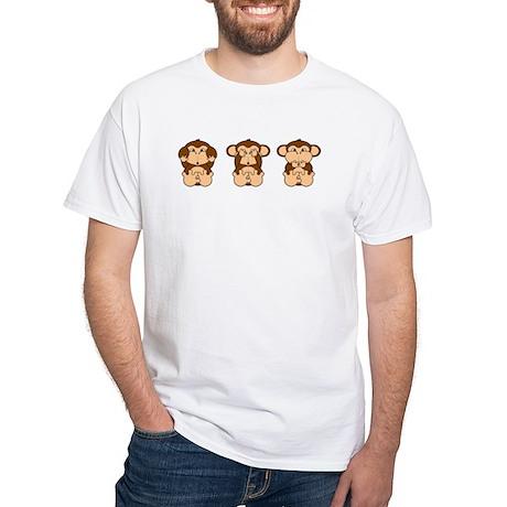 Monkey Hear, See, Speak No Evil White T-Shirt