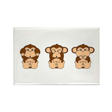 Hear, See, Speak No Evil Rectangle Magnet (100 pac