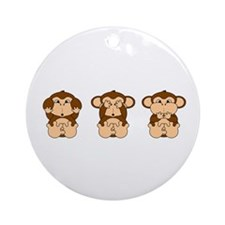 Hear, See, Speak No Evil Ornament (Round)