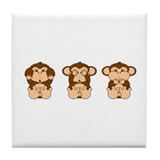 Hear, See, Speak No Evil Tile Coaster