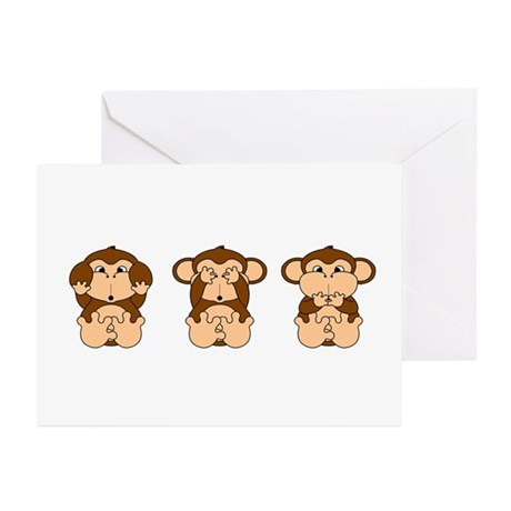 See Hear Speak No Evil Greeting Cards (Pk of 10)