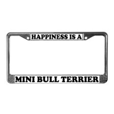 Happiness Mini Bull Terrier License Plate Frame