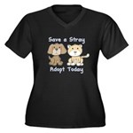 Save a Stray - Adopt Today Women's Plus Size V-Nec