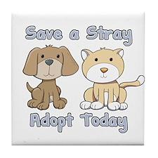 Save a Stray - Adopt Today Tile Coaster